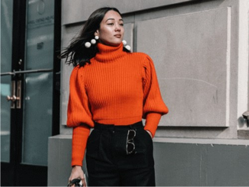модный тренд, кашемировые свитеры, массивные серьги