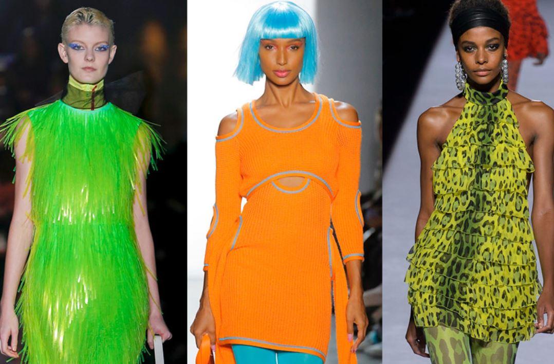 тренд 2019, неоновые платья