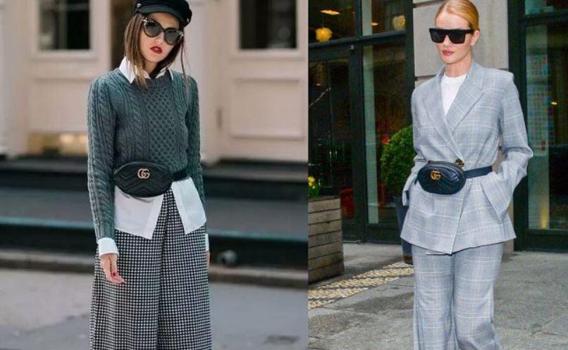 сумка-пояс, модный тренд осени 2018